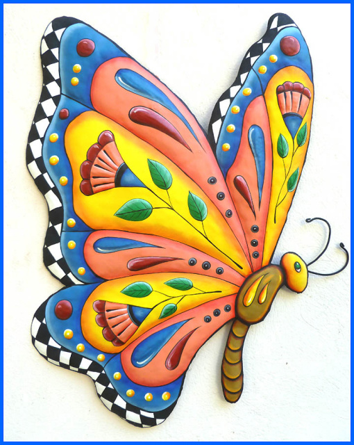 Butterfly wall decor - hand painted metal