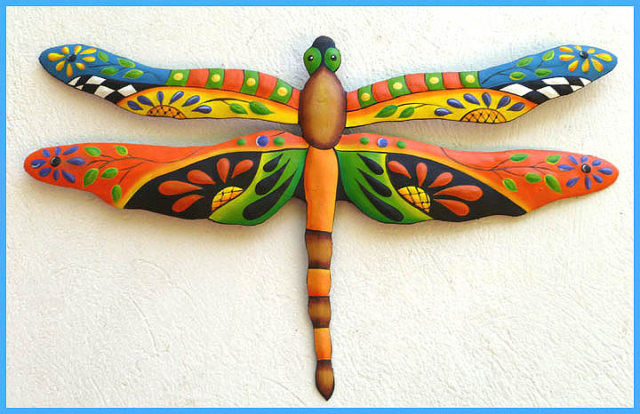 painted metal dragonfly wall art