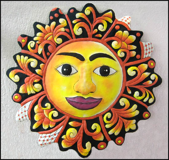 Hand painted metal sun garden decor. Haitian steel drum metal wall hanging.