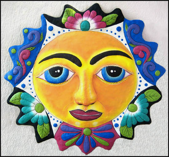 Hand painted metal sun wall hanging - Tropical metal garden art - Handcrafted in Haiti from recycled steel drums