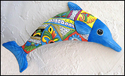 Hand painted metal dolphin wall hanging - Tropical metal garden and patio art - Handcrafted in Haiti from recycled steel drum