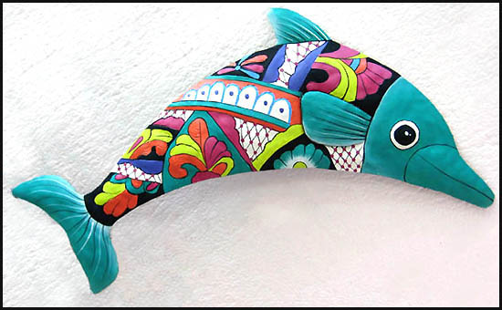 Hand painted metal turquoise dolphin wall hanging. Haitian steel drum metal art.