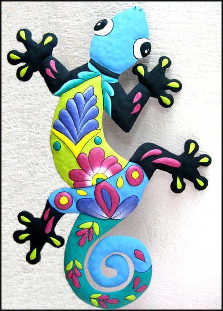 "Large Painted Metal Gecko Garden Art - Handcrafted from Recycled Steel Drums in Haiti - 23"" x 34"""