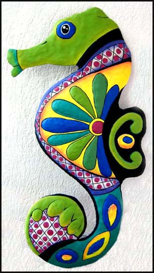 Hand Painted Metal Seahorse Wall Hanging