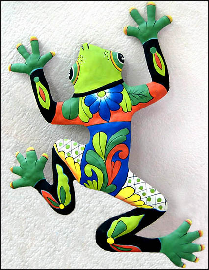 Hand painted frog wall hanging - Tropical metal garden art - Handcrafted in Haiti from recycled steel drums