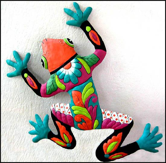 Very best Frog Wall Art Designs in Brightly Hand Painted Metal JG01