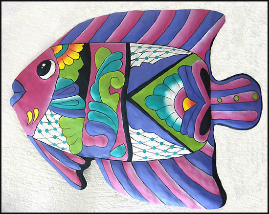 Hand painted tropical fish wall hanging - Tropical metal garden art - Handcrafted in Haiti from recycled steel drums