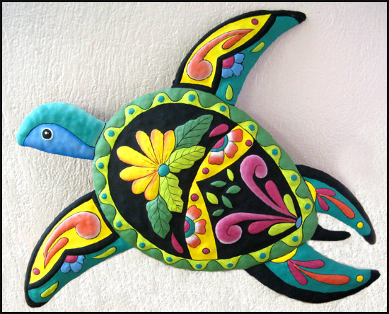 Hand painted metal turtle wall hanging - Caribbean decor - Steel drum metal art