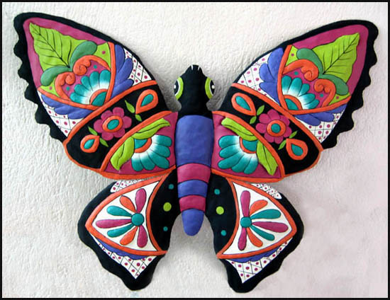 Hand painted  butterfly wall hanging - Tropical metal garden art - Handcrafted in Haiti from recycled steel drums