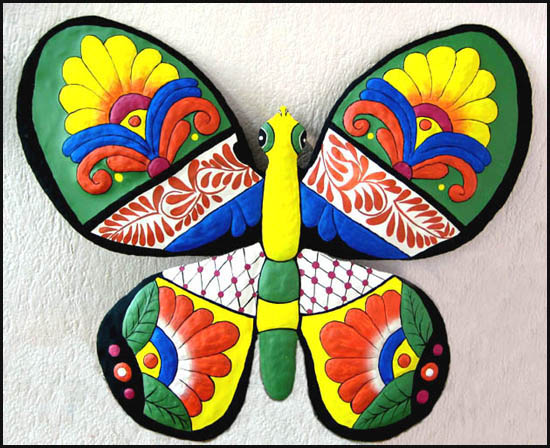 Hand painted  butterfly wall decor - Metal garden art - Handcrafted in Haiti from recycled steel drums