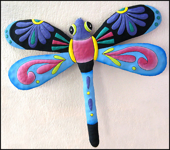 Painted metal dragonfly wall hanging. Haitian steel drum metal art