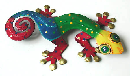 "Gecko Wall Hanging Multi-Colored Painted Metal Haitian Art - Tropical Home Decor -  8"" x 13"""
