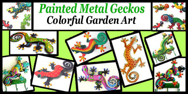 Gecko  painted metal garden art