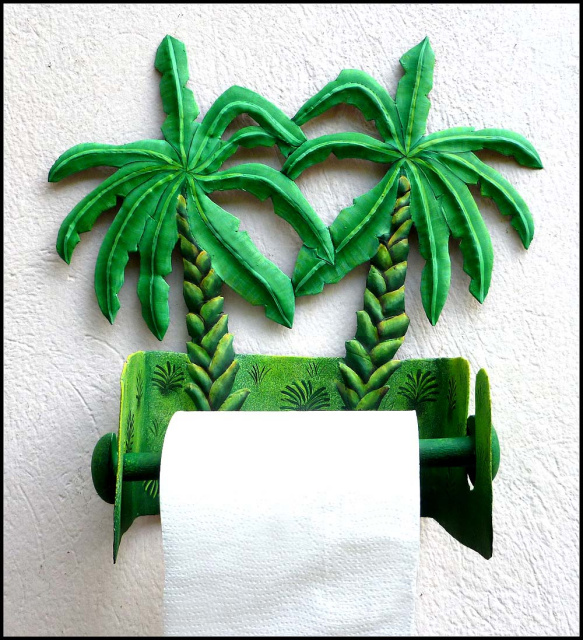 Painted Metal Tropical Banana Tree Toilet Paper Holder