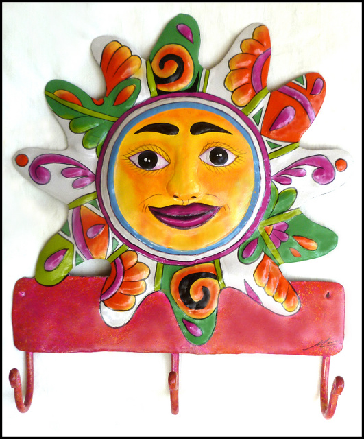 Hand painted metal tropical sun wall hook - Haitian steel drum art - Bathroom Decor