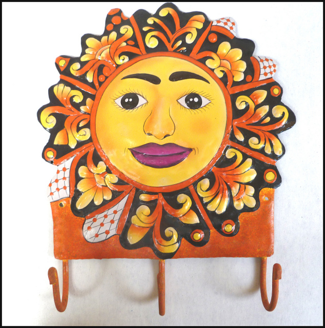 Hand painted metal sun wall hook.