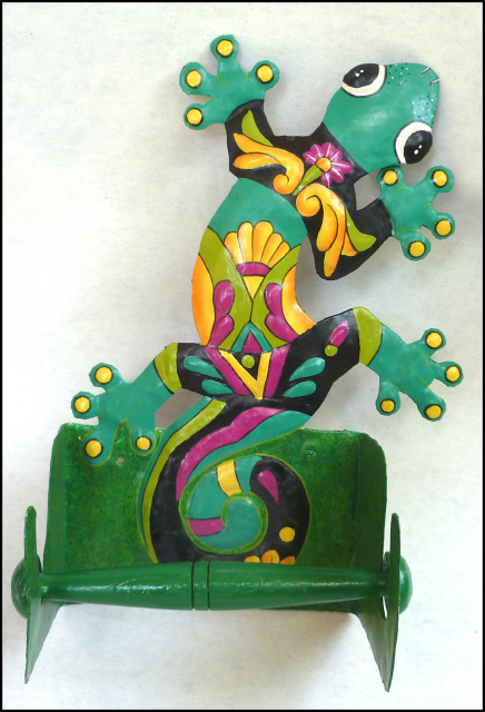 Hand painted metal tropical gecko toilet paper holder - Haitian steel drum art - Bathroom Decor