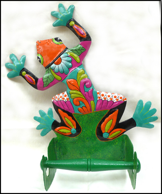 Frog toilet paper holder- Painted metal tropical design - Recycled steel drum
