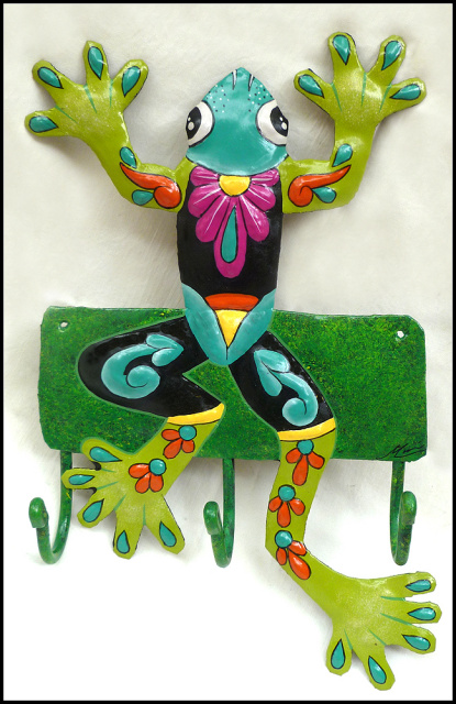 Frog wall hook - Painted metal tropical design - Recycled steel drum