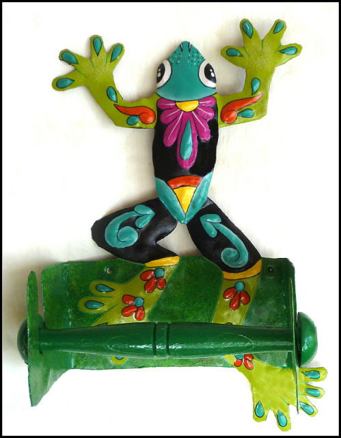 hand painted metal toilet paper holder - tropical frog
