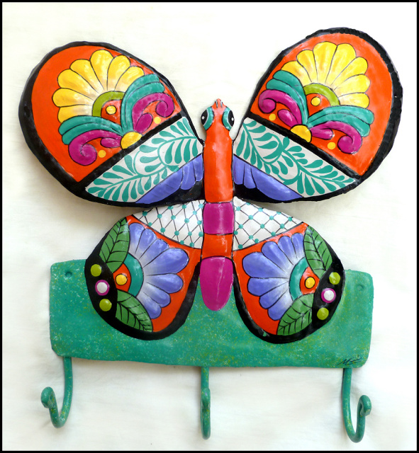 Painted metal butterfly wall hook. Bathroom decor.