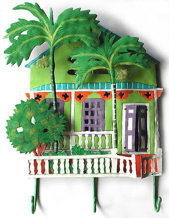 Painted Metal Green Caribbean House w/ Palm Trees Wall Hook - Distinctive Tropical Home Decor - 13