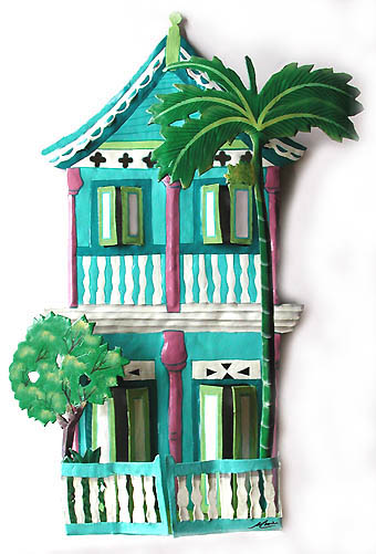 Turquoise 2 Story House  - Hand Painted Metal Art Caribbean Art Wall Hanging   - Hand painted Caribbean decor. Hand cut from recycled steel drums.