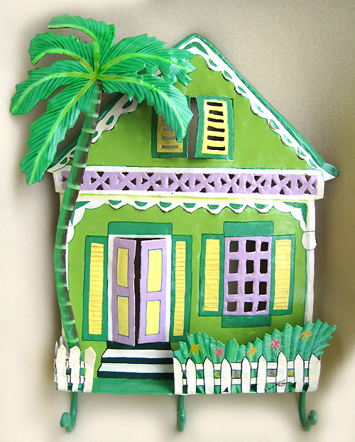 Green Caribbean House Wall Hook - Hand Painted Metal - Tropical home decor