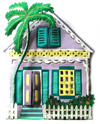 Tropical design. Painted metal Caribbean house wall hanging, hand cut from recycled steel drums and hand painted.   Measures 12