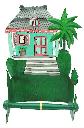 "Hand Painted Caribbean House Toilet Paper Holder - Bathroom Design - 7""x10""x 5"""