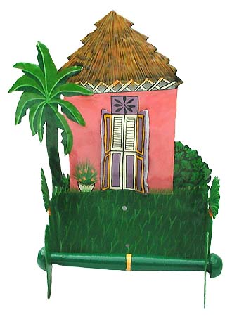 "Pink Caribbean House Toilet Paper Holder - Bathroom Decor - 7""x10""x 5"""