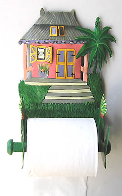 Pink Caribbean House Toilet Paper Holder - Hand Painted Metal -Bathroom accessory