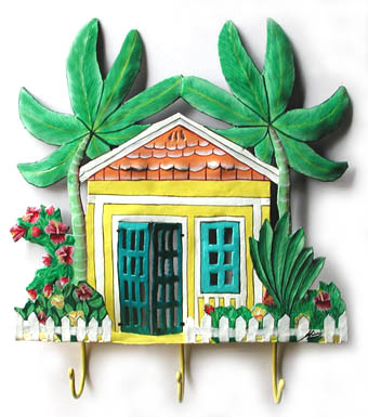 Hand Painted Yellow Caribbean Cottage Wall Hook - Unique Island Decor - 11