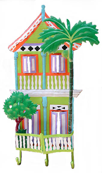Handpainted Green Caribbean House w/ Hooks - Distinctive Tropical Home Decor - 11