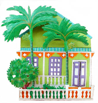 Painted Metal Cottage Wall Hanging - Distinctive Tropical Home Decor - Caribbean decor