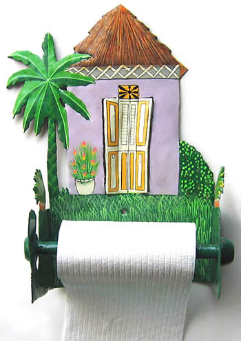 "Painted Metal Purple House Toilet Paper Holder - Bathroom Accessory - 7""x10""x 5"""