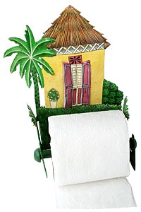 "Painted Metal Yellow Caribbean Hut Bathroom Toilet Paper Holder - 7""x10""x 5"""