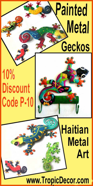 Painted metal geckos - Metal wall art. Tropical Decor