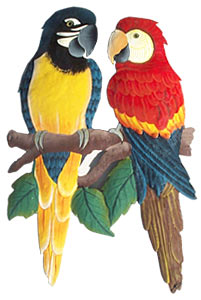 Hand Painted Metal Parrots Wall Art, Tropical Wall Decor, Haitian Steel Drum Art -17""