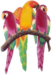 Parrots in Tropical Colors - Hand painted parrot metal wall hanging Tropical art design. Handcrafted from recycled steel drums in Haiti. Caribbean wall decor.