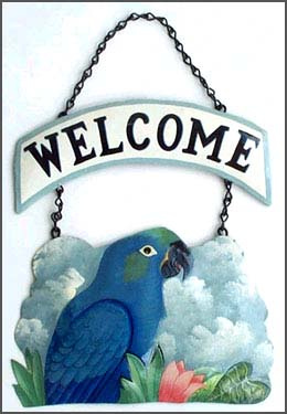 "Blue Hyacinth Macaw Parrot Welcome Sign - Hand Painted Metal - 10"" x 15"""