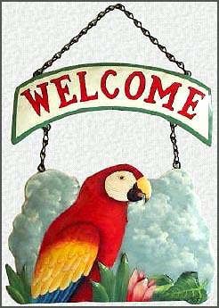"Scarlet Macaw Parrot Welcome Sign - Hand Painted Metal Tropical Decor - 10"" x 16"""