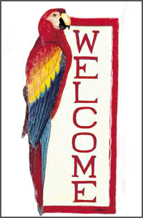 "Scarlet Macaw Parrot Painted Metal Welcome Plaque - Tropical Decor -  8"" x 16"""