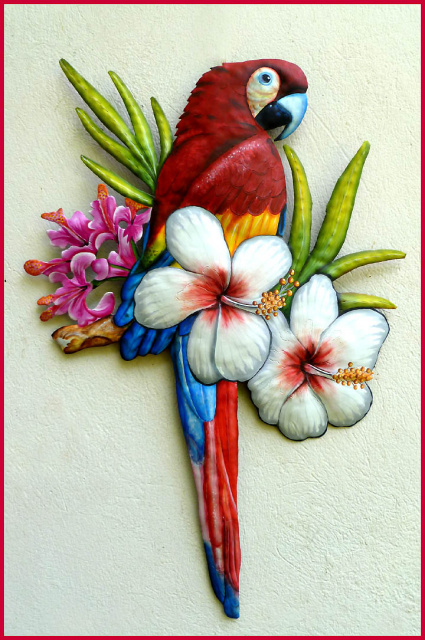 "Hand Painted Scarlet Macaw Wall Hanging - Metal Parrot Tropical Decor - 26"" x 18"""