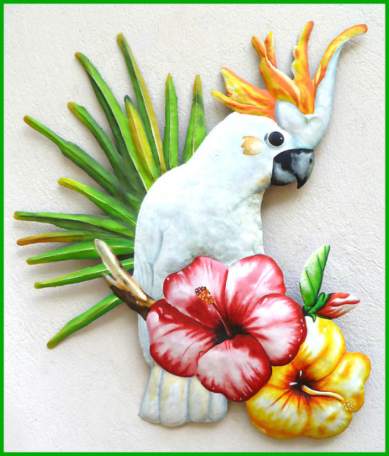 "Decorative Parrot Wall Hanging - Hand Painted Metal Cockatoo - Tropical Decor - 24"" x 21"""