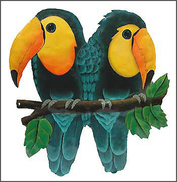 "Hand Painted Metal Tropical Toucan Parrot Wall Hanging - Tropical Design - 13"" x 18"""