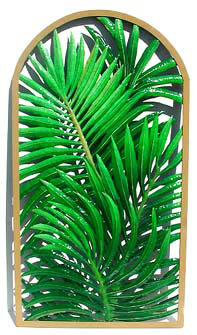 Hand Painted Metal Palm Wall Panel - Tropical Home Decor - 20