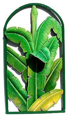 Banana Leaves Wall Panel - Hand Painted Metal Decorative Design - Decorative tropical home design - Handcut from recycled steel drums in Haiti - Caribbean Decor