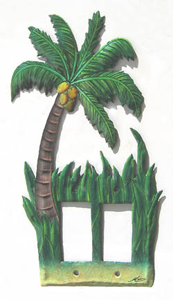 Tropical Coconut Tree Rocker Switchplate Cover- Decorative tropical home design - Handcut from recycled steel drums in Haiti - Caribbean Decor