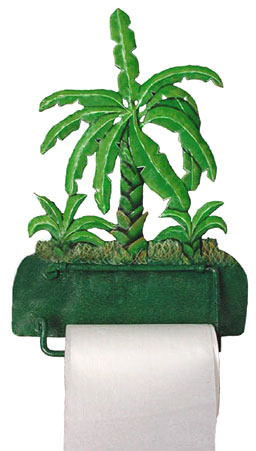 Painted metal tropical banana tree toilet paper holder.